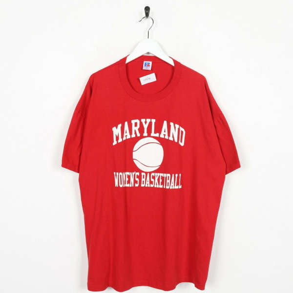 Vintage RUSSELL ATHLETIC USA Maryland Women's Basketball Red XL