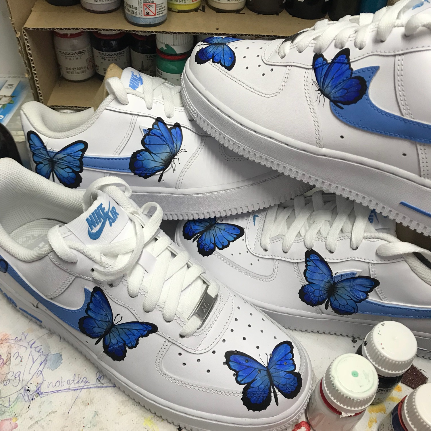 Blue Butterfly Air Force 1 | Nike Butterfly Sneakers