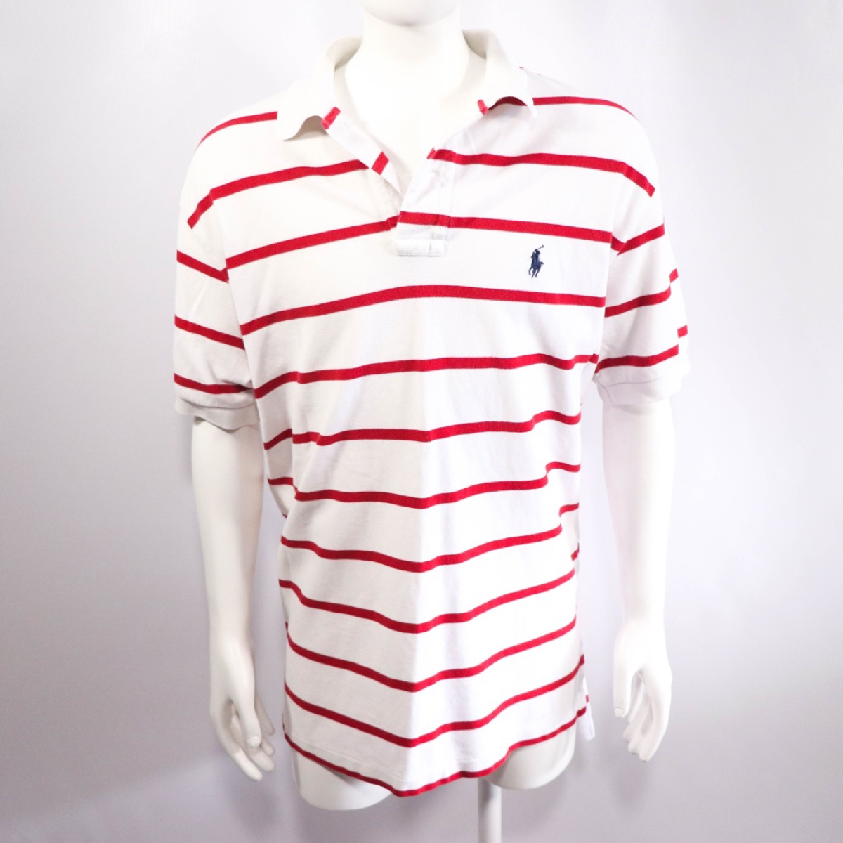 Red & White Striped Ralph Lauren Polo T-Shirt - Size Medium