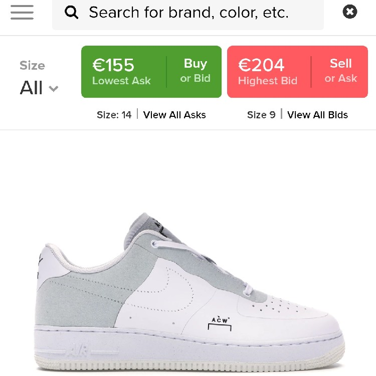 a cold wall air force 1 stockx