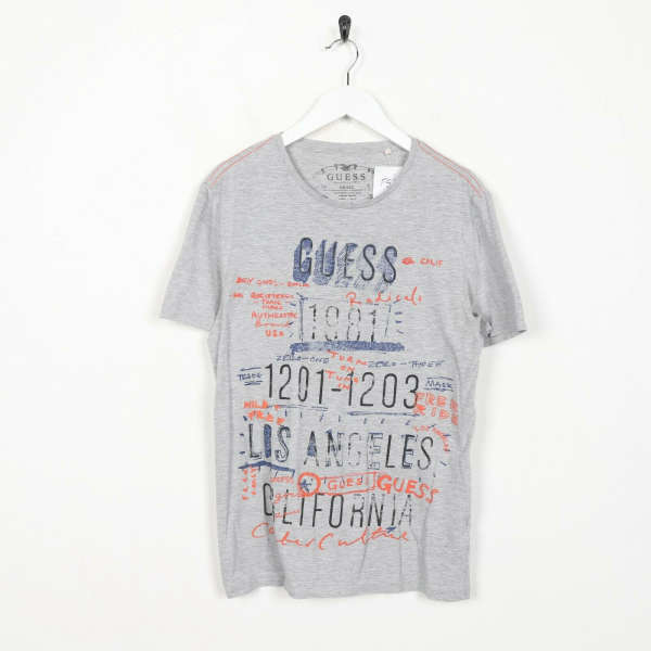Vintage GUESS Spell Out Graphic T Shirt Grey | Small S