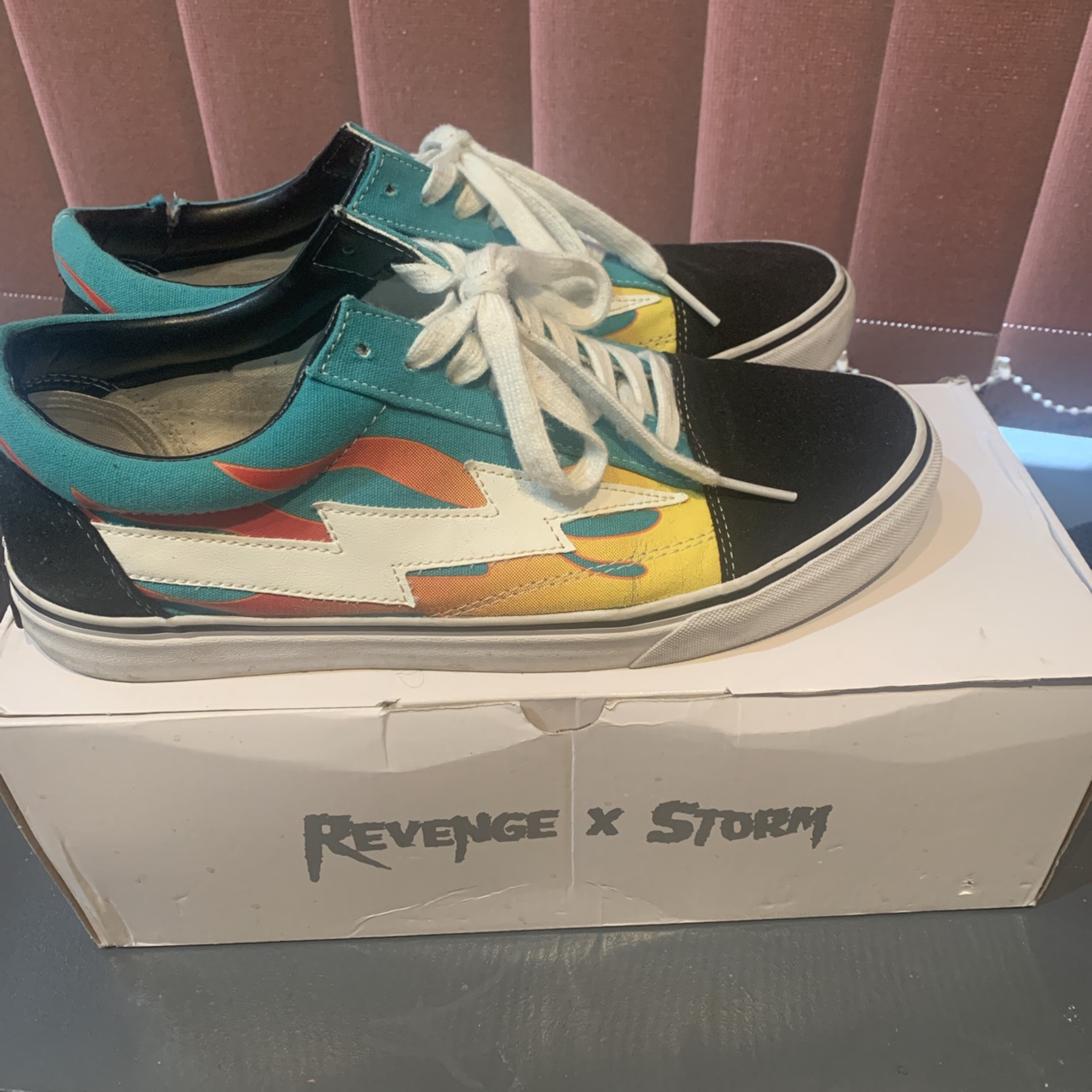 Revenge X Storm Low Top Teal With Flames