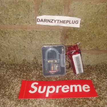 Supreme Transparent Lock With Supreme Red Waterproof Lighter Case With Keychain