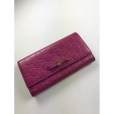 Gucci Gg Leather Purple Long Wallet