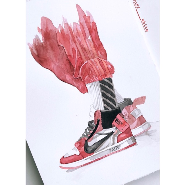 "Painting (A3) ""Air Jordan 1 Off White Chicago"""