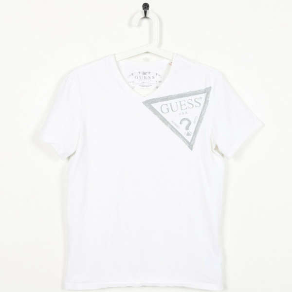 Vintage GUESS Big Logo T Shirt White | Small S