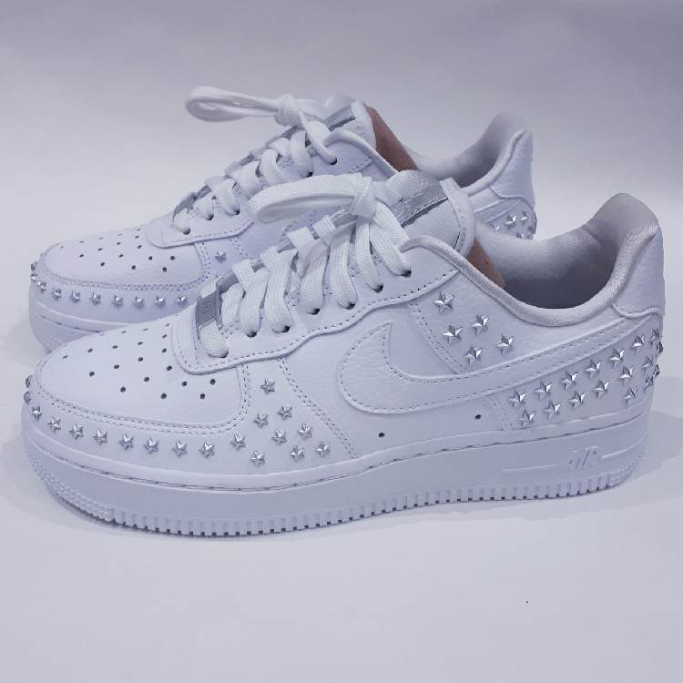 White Womens Nike Air Force 1 07 Xx Studded With Stars Uk 3 5