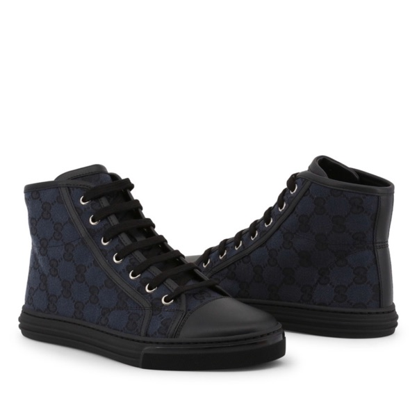Gucci Blue Gg Canvas And Leather Sneakers