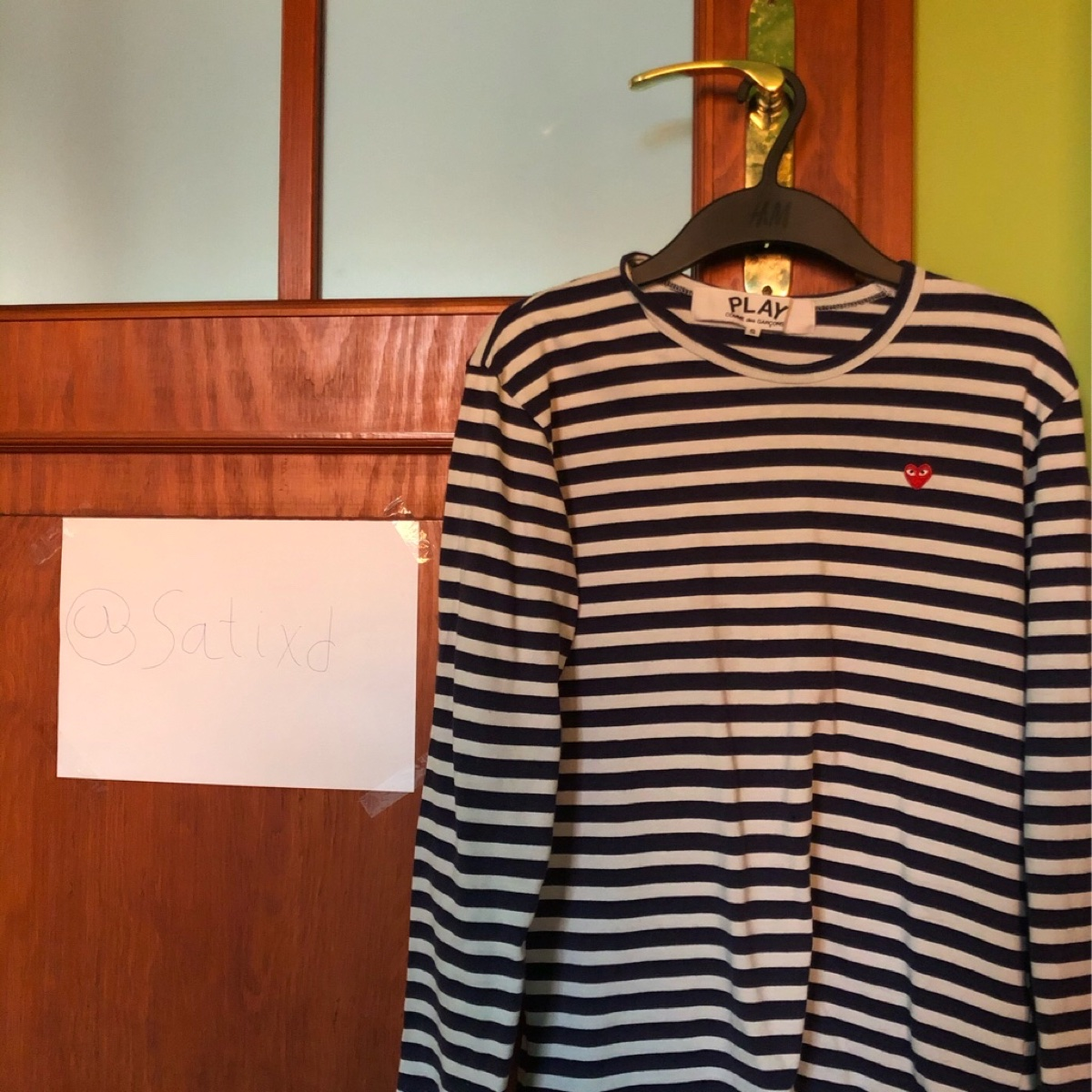 comme des garcons small heart striped l/s