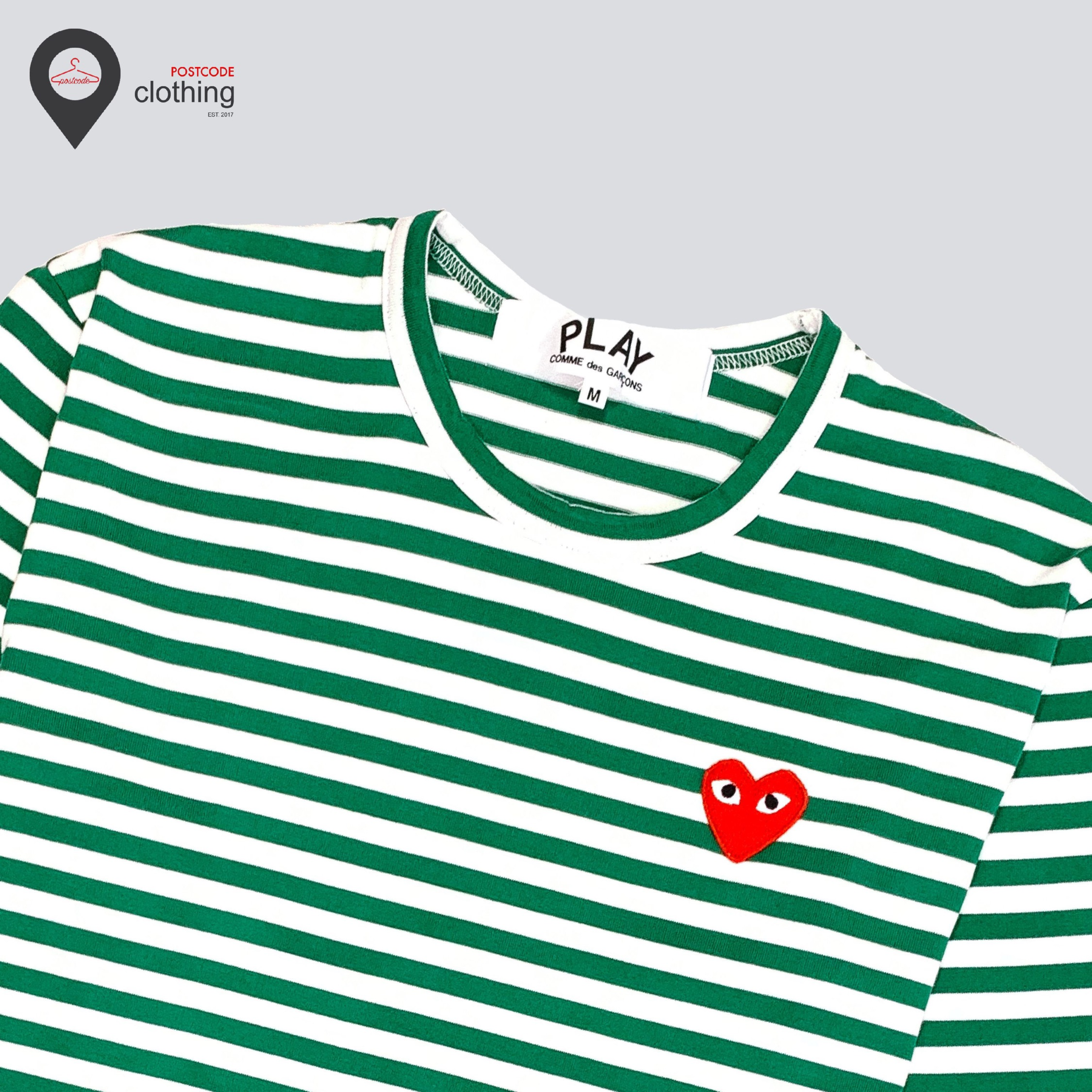 Cdg Play Red Heart Long Sleeve - Green/White
