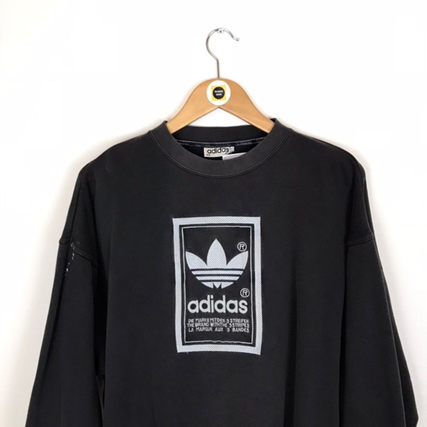 Vintage Adidas Black And White Spellout Crewneck