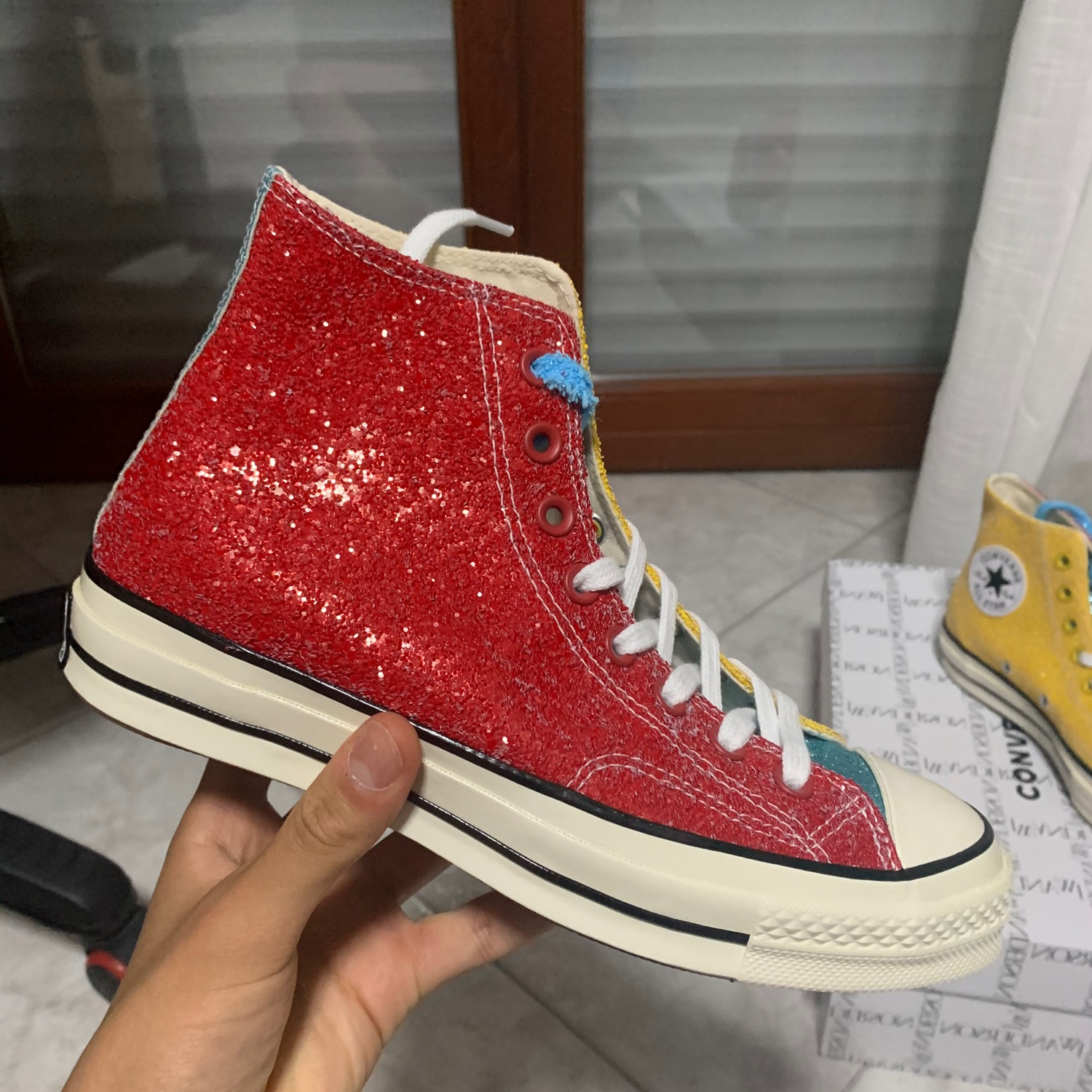 Red Glitter Converse in yellow | JW Anderson