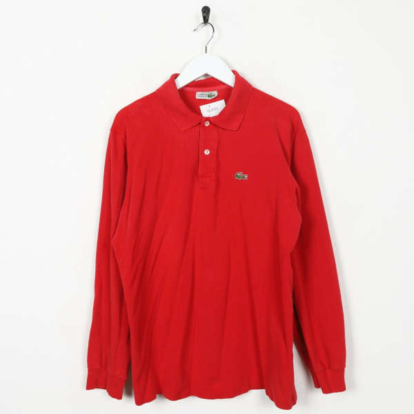 Vintage LACOSTE Small Logo Long Sleeve Polo Shirt Red | Large L