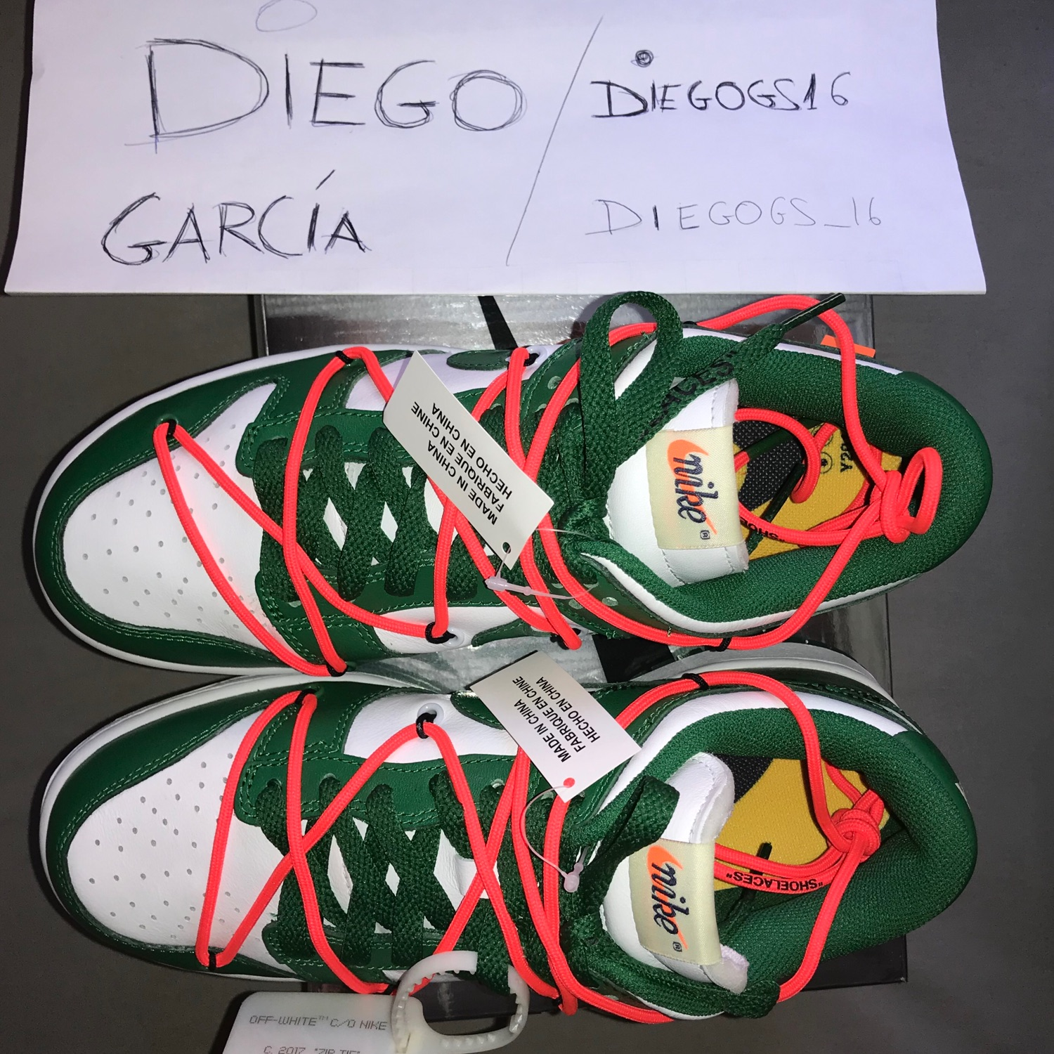 Wts Vendo Nike Dunk Off White Green 7,5 Us/ 40,5