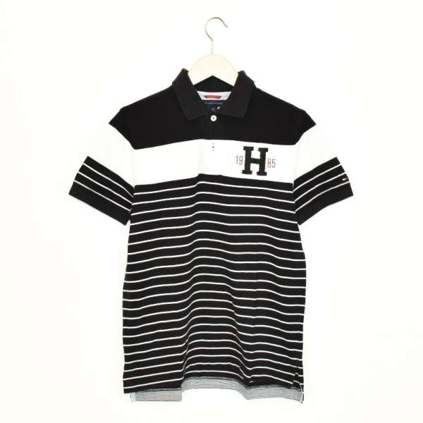 Vintage Tommy Hilfiger thick material t-shirt top blouse tee in black and white