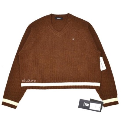 Undercover Brown Logo Embroidered Sweater Nwt