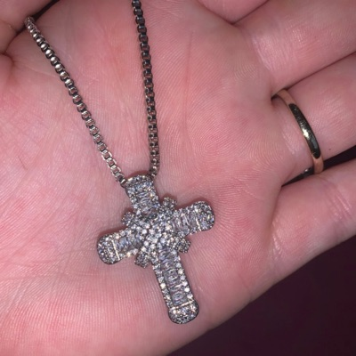 Silver Stamped Cross