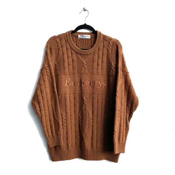 Burberry Brown Wool Spell Out Jumper Sweater Rare