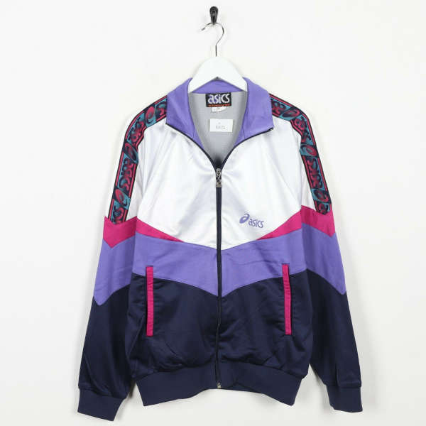 Vintage 90s ASICS Tape Logo Tracksuit Top Jacket White Purple | Large L