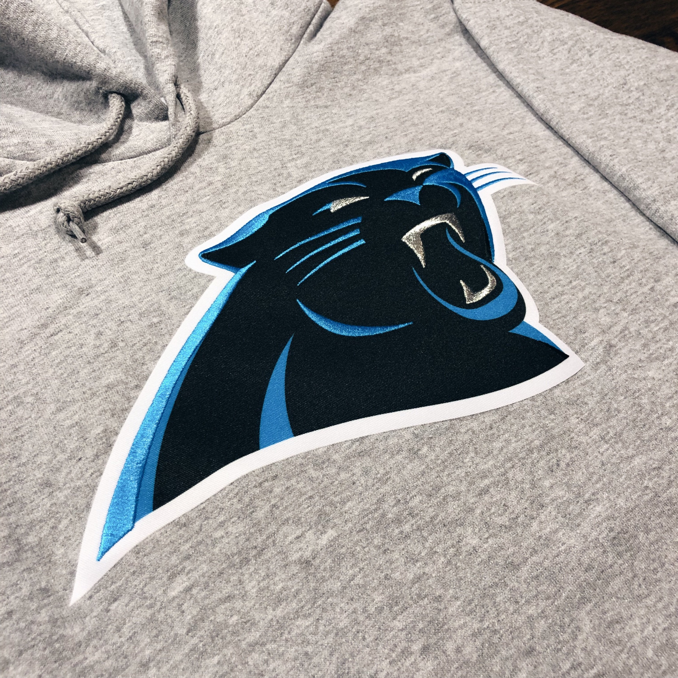 quite nice 48104 6d0be Majestic Carolina Panthers Stitch Patch Hoodie
