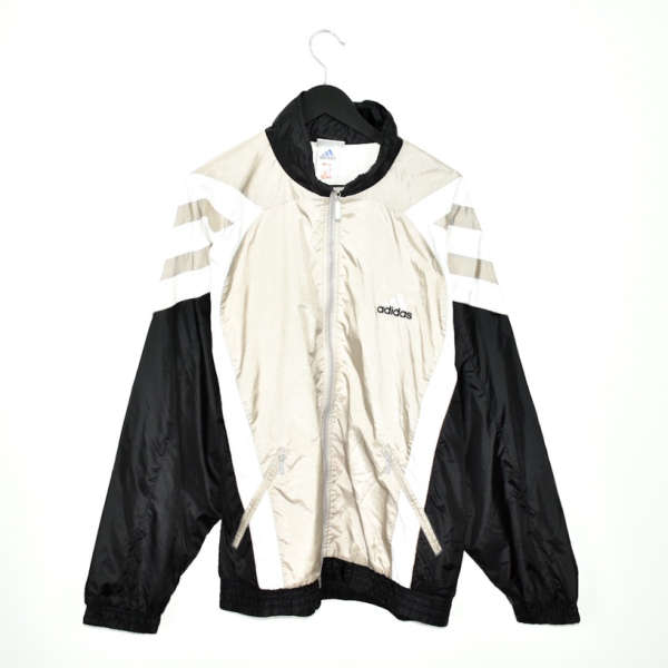 Vintage Adidas zip up windbreaker tracksuit track jacket trackie sweater jumper sweatshirt pullover long sleeve in black light gold and white