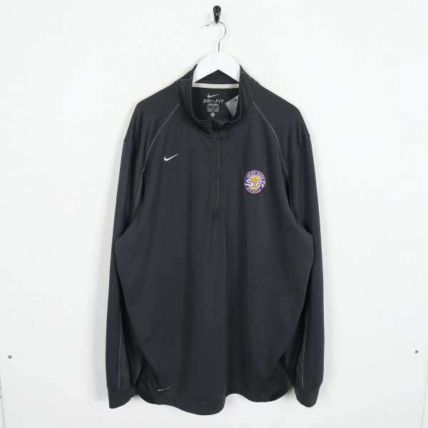 Vintage NIKE Small Logo 1/4 Zip Tracksuit Top Jacket Grey | XL
