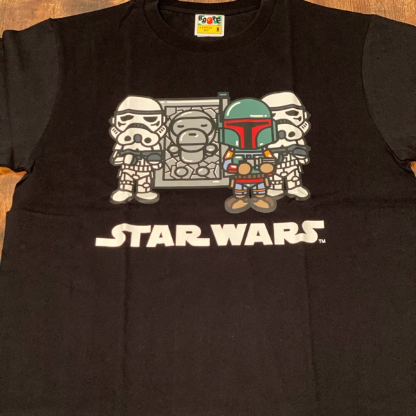 Bape X Star Wars Baby Milo Carbonnite Black Tee
