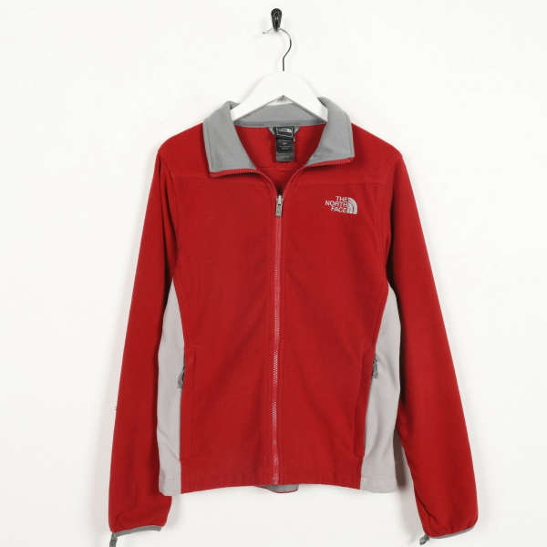 Vintage Women's THE NORTH FACE Small Logo Zip Up Fleece Top Red | Small S