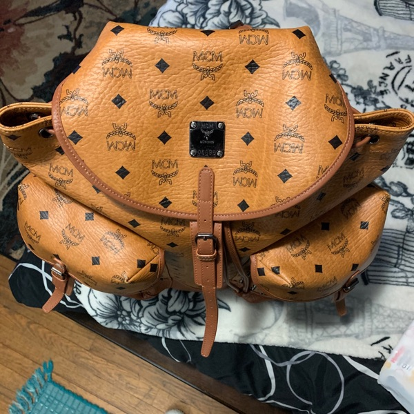 Mcm Heritage Backpack With Rivets