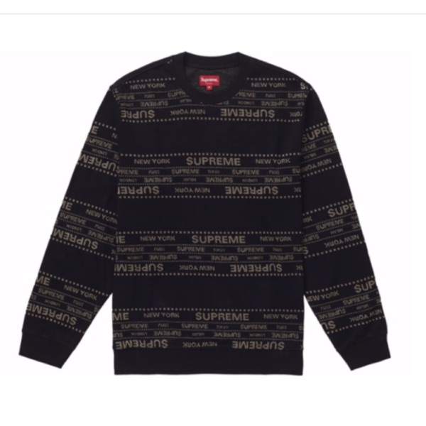 Dupreme Jacquard Metallic Sweater Top Black
