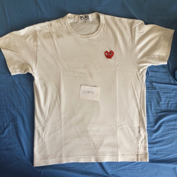 Comme Des Garcons Play White Tee - Heart Patch