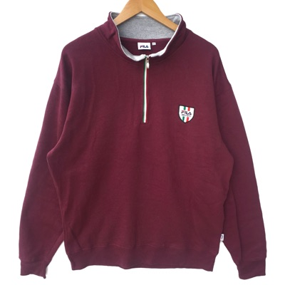 Fila Sweatshirt Small Logo Embroidery Half Zip Red