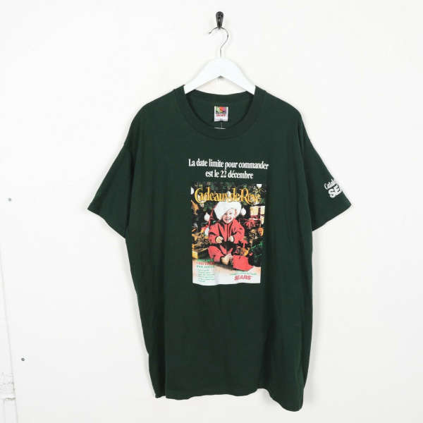 Vintage Novelty Graphic Christmas T Shirt Tee Green | XL