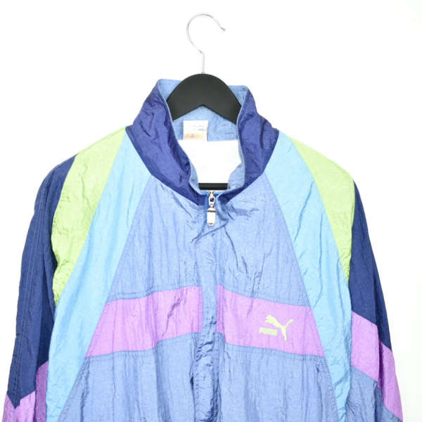 Vintage Puma zip up tracksuit track jacket trackie sweater jumper sweatshirt pullover long sleeve in baby purple pink blue and green