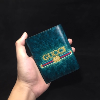Wallet Men Handmade Carving Gucci Logo On Leather