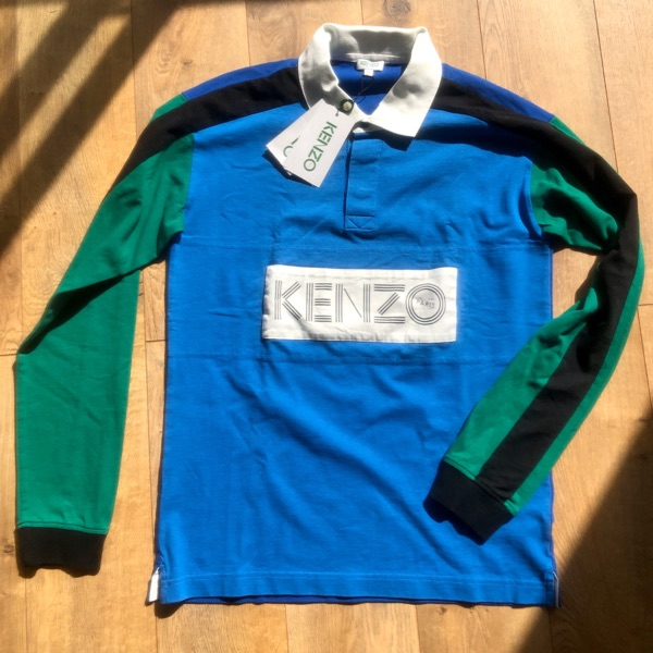 Kenzo Long Sleeve Rugby Jersey In Blue/Green