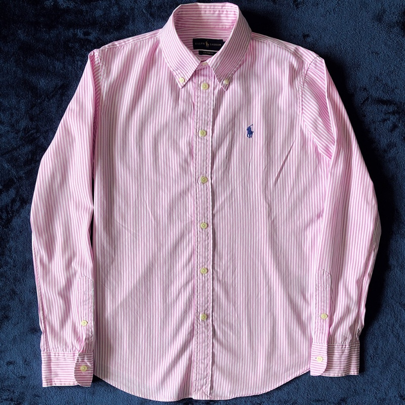 POLO RALPH LAUREN Womens Pink/White Striped Oxford Shirt