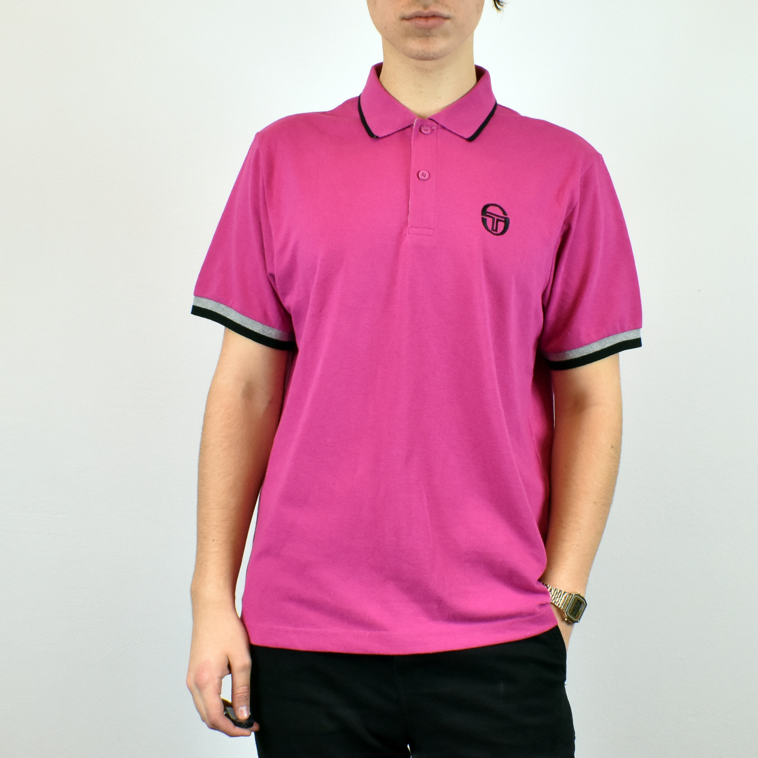 Unisex Vintage Sergio Tacchini Polo shirt in pink