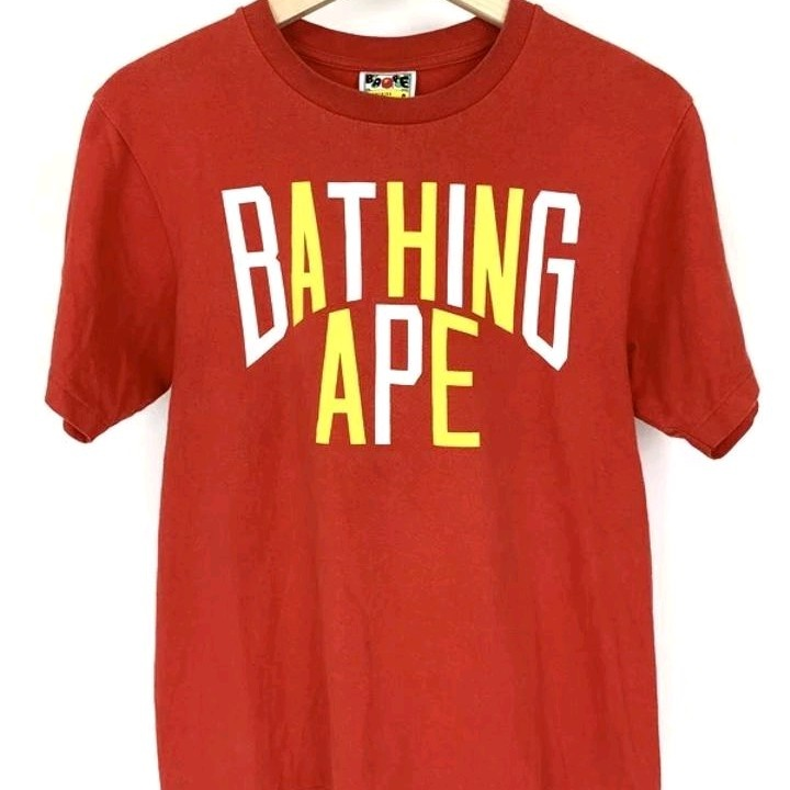 Bape T-Shirts Red Printed Front Round Neck