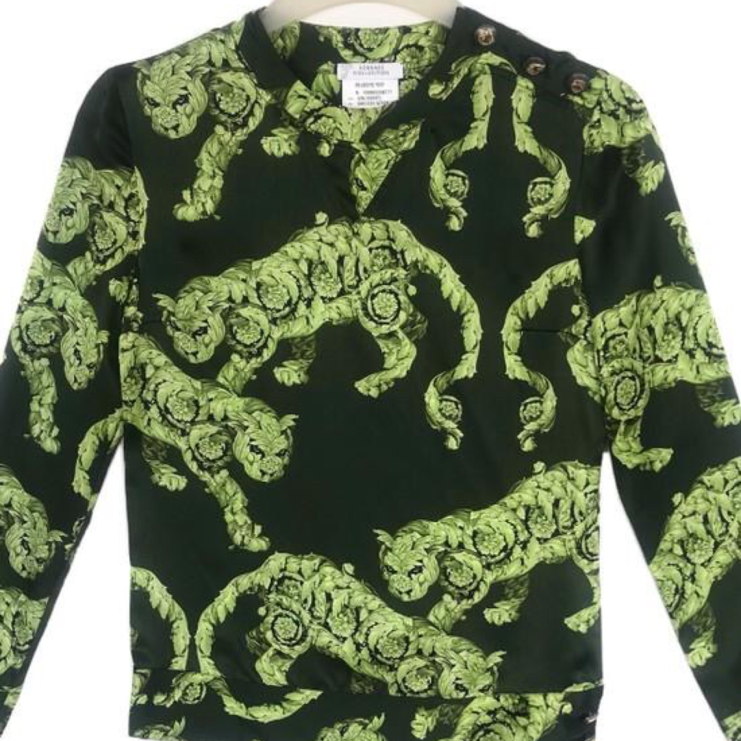 Versace Collection Green Benggal Tiger Design Logo