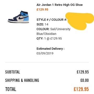 Air Jordan 1 Obsidian UNC Confirmed Order