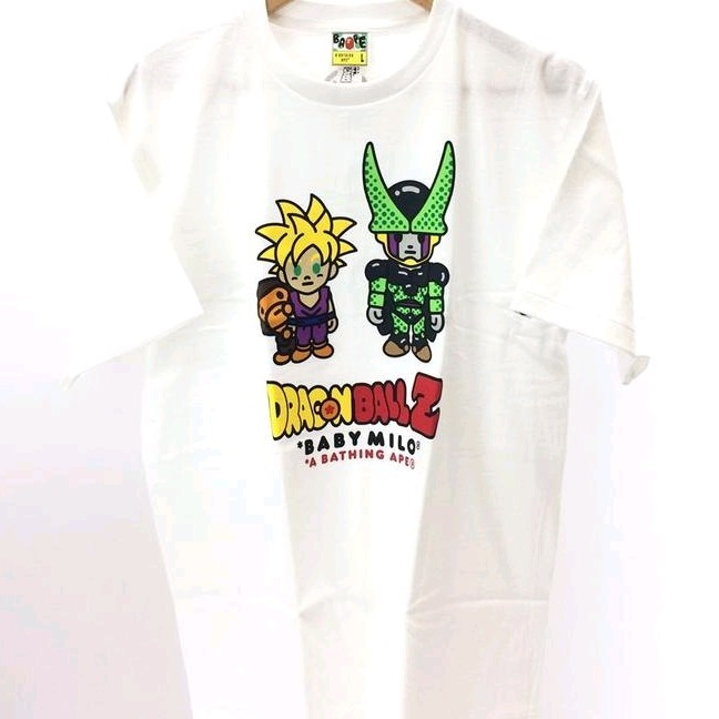 Bape T-Shirts White Cotton Dragon Ball Front Design