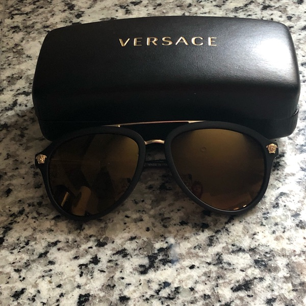 Versace Sunglasses Os, Gold And Black