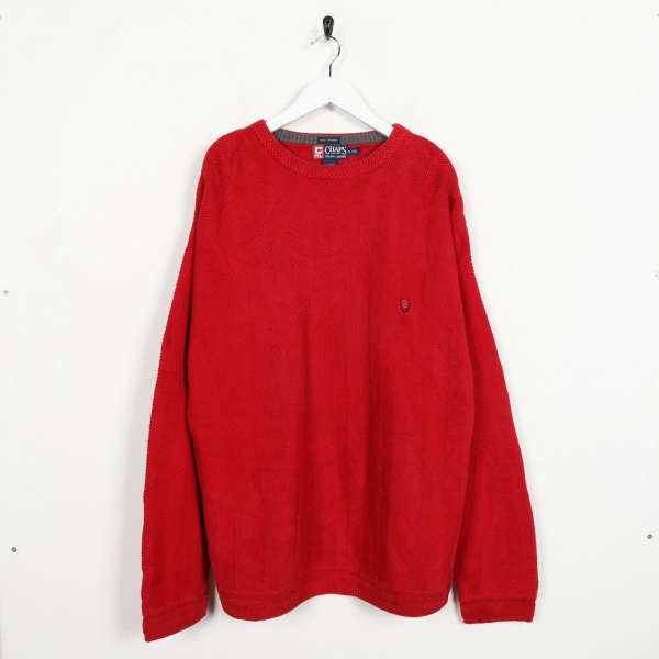 Vintage CHAPS RALPH LAUREN Small Logo Knitted Sweatshirt Jumper Red | XL