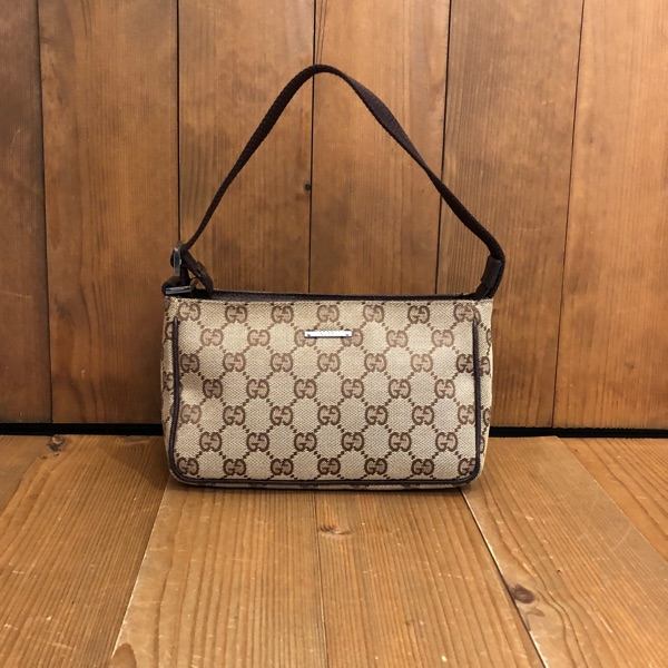 Authentic Gucci Brown Jacquard Mini Hand Bag Pouch