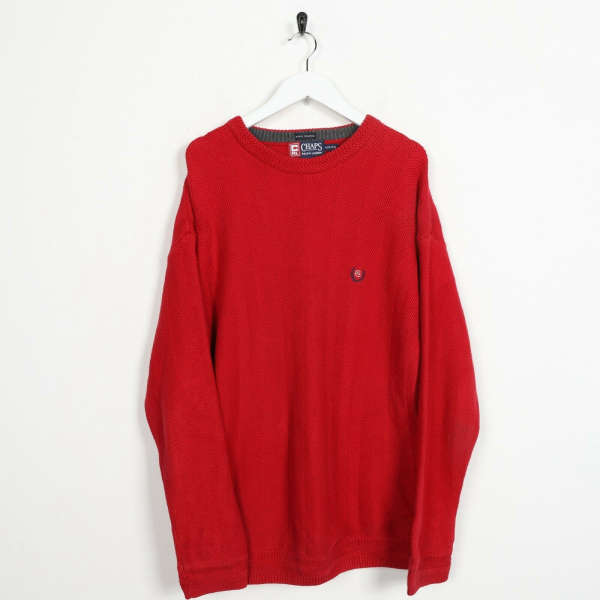 Vintage CHAPS RALPH LAUREN Small Logo Knitted Sweatshirt Jumper Red | Small S