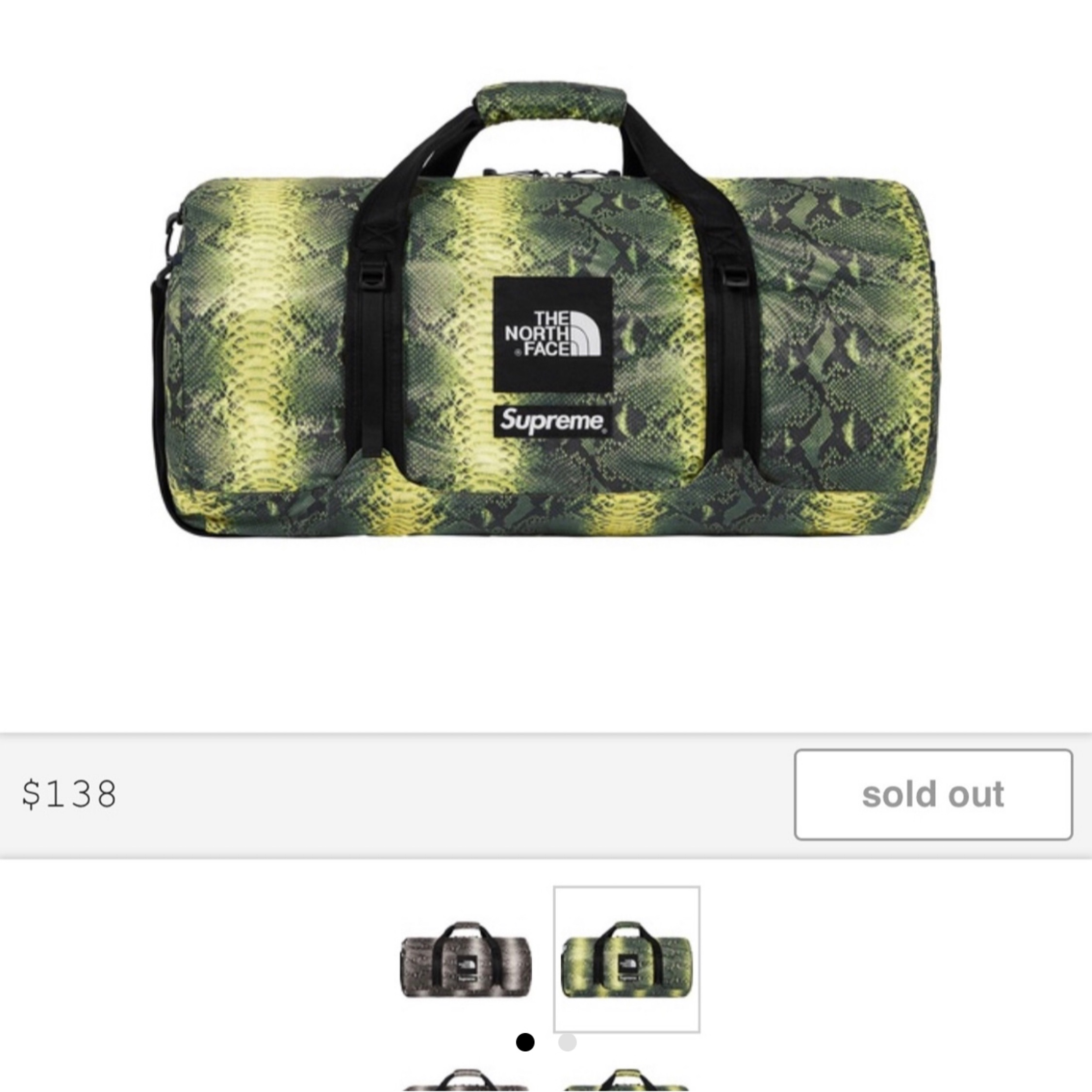 Supreme The North Face Snakeskin Duffle Bag