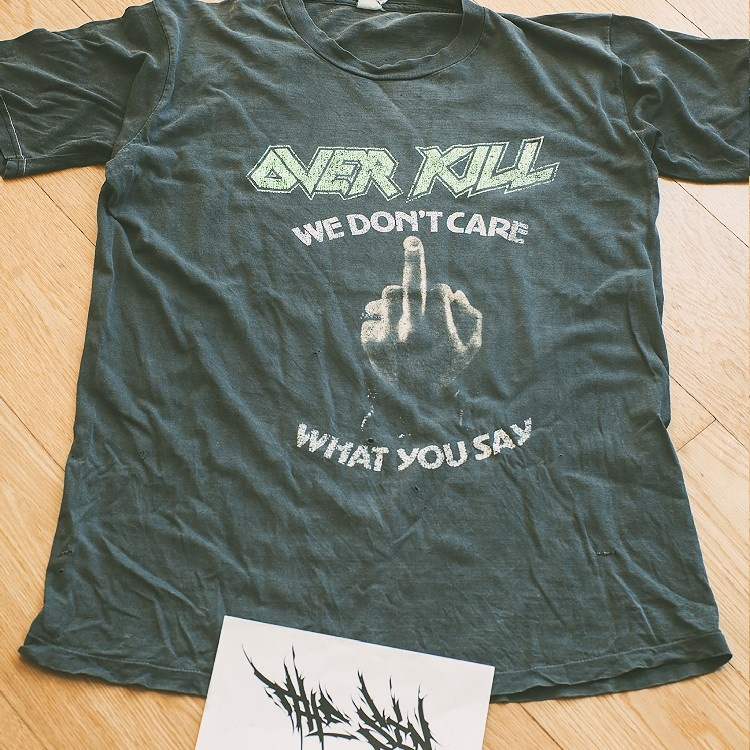 """Over Kill """"We Don't Care What You Say"""" Vintage 80s T-Shirt"""