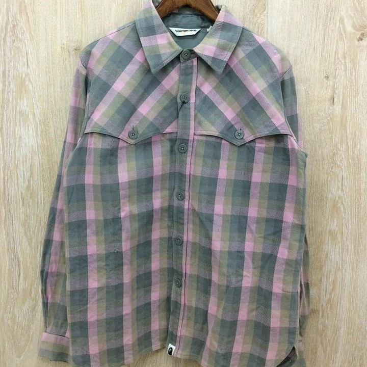 Bape Long Sleeve Gray Cotton Plaid Button Down