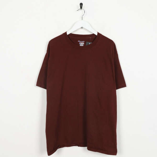 Vintage CHAMPION Authentic T Shirt Tee Burgundy Red | Large L